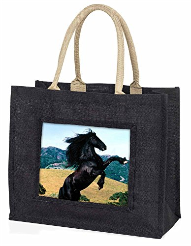 Advanta–Große Einkaufstasche Aufzucht Hengst Große Einkaufstasche Weihnachtsgeschenk Idee, Jute, schwarz, 42x 34,5x 2cm