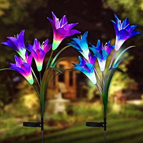 Digiroot Waterproof Outdoor Solar Garden Stake lights,2 Packs Solar Powered Garden Lights with 8 Lily Flower,Multi-Color Changing LED Solar Stake Lights for Garden,Patio,Backyard Decor