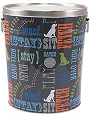 Paw Prints 37581 15 Pound Tin Pet Food Container, Wordplay Design, 10.38 x 11.75 x 10.38