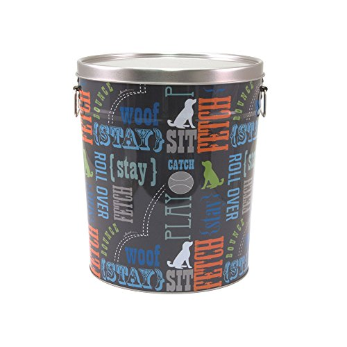 Paw Prints 37581 15 lb. Tin Pet Food Container, Wordplay Design,  12