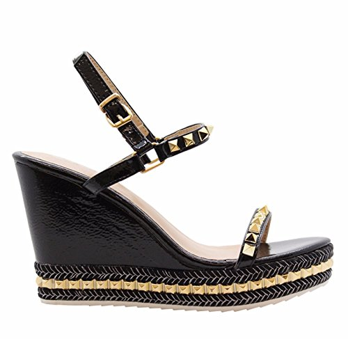 3 STYLES Wedge SAUTE 8 Black Espadrilles Strappy Sandals Platform Womens Size Studded High tvwdwqC