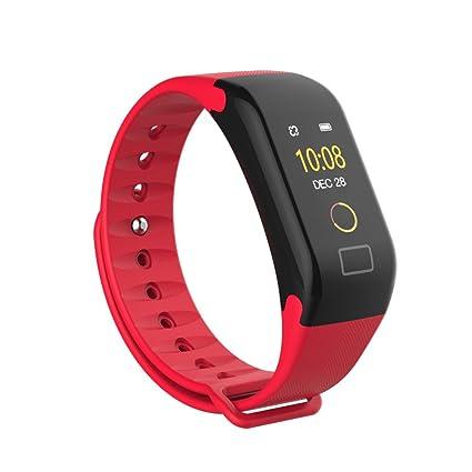 Mamun Smartwatch Pulsera Elegante del Reloj del Monitor del Ritmo cardíaco del oxígeno de la presión Arterial del Color de F1 (Rojo)