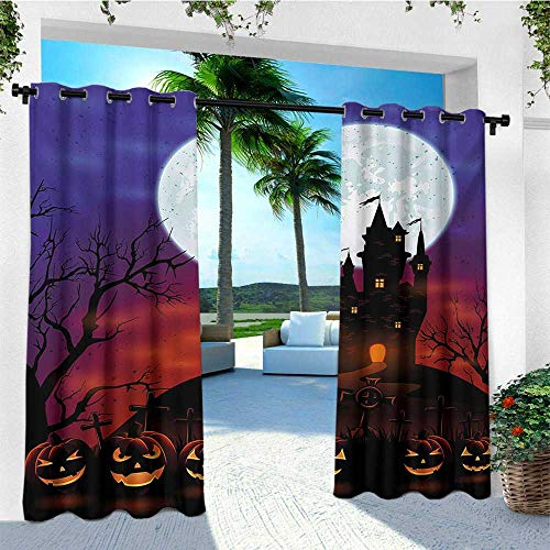 leinuoyi Halloween, Outdoor Curtain Ties, Gothic Haunted House Castle Hill Valley Night Sky October Festival Theme Print, for Patio Waterproof W108 x L96 Inch Multicolor