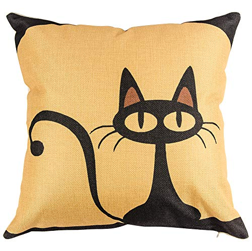 heartybay Throw Pillow Cover 18 X 18 Inch Cotton Linen Decorative Square Cushion Case for Sofa Couch Décor Bedroom Car, Cartoon Black Cat Theme 45 x 45 cm]()