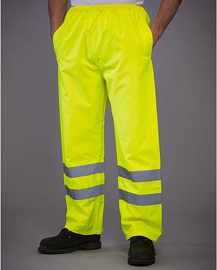 Safety Workwear Polyester Pants Yoko Hi-Vis Mens Waterproof Overtrousers HVS461