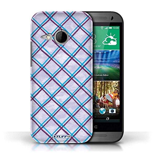 Etui / Coque pour HTC One/1 Mini 2 / Bleu/Violet conception / Collection de Motif Entrecroisé