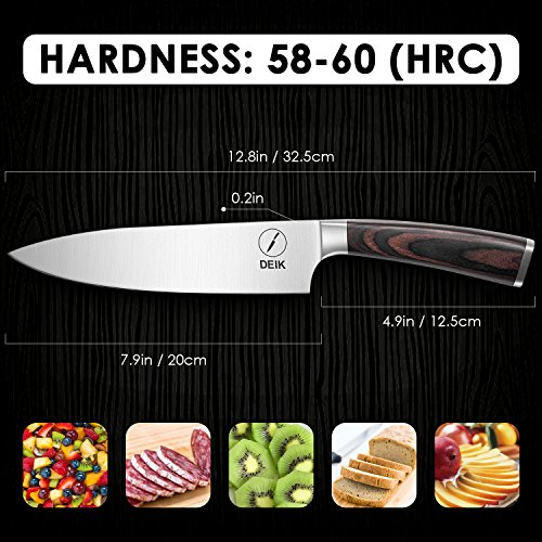 Deik Chef Knife, 8 Inch Kitchen Knife with 1.4116 Imported Stainless Steel, Professional Grade Balance and Super Sharp with Ergnonomic Classy Wooden Handle by Deik (Image #7)