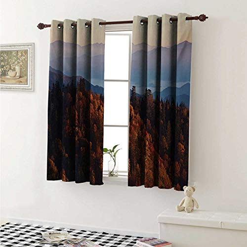 National Parks Customized Curtains Sunrise at The Mountains Pine Trees Covered on Hill Mist South Carolina Curtains for Kitchen Windows W63 x L45 Inch Multicolor