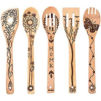 5 Pieces St Patrick/'s Day Wooden Spoons Set Shamrock Cooking Utensil Spoons Kitchen Decoration Wooden Spoons for St Patrick/'s Day Irish Festival Cooking Gift Supplies