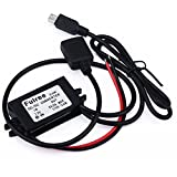 GEREE Waterproof DC Converter 8-22V To 5V 3A/15W Dual Power Adapter DC To DC Buck Converter Step Down Power Supply Module Car Power Converter Double USB Cable Connector Car Charger 12V To 5V