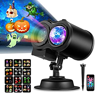 COMLIFE 2 in 1 Christmas Projector Lights, Decorative Light for Holidays Wedding Party & Indoor/Outdoor Usage