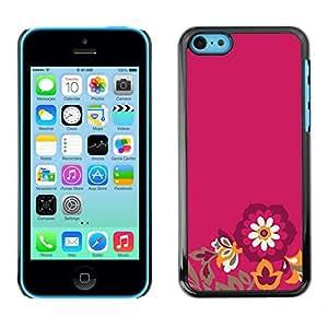 X-ray Impreso colorido protector duro espalda Funda piel de Shell para Apple iPhone 5C - Flowers Minimalist Petal Purple