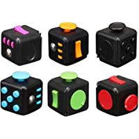 DSHUJC Fidget Cube Stress & Anxiety Reliever Idea Maker Study Helper for Home School Work (Color : BK-1 black rose red)