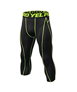 Luxsea Men's 3/4 Sport Leggings Quick Dry Yoga Workout Running Fitness Stretch Tights Pants Black Green