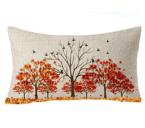 Autumn Leaves Pillow - FELENIW Happy Fall Y'all Golden Autumn Red Maple Leaves Family Home Gift Throw Pillow Cover Cushion Case Cotton Linen Material Decorative Lumbar 12