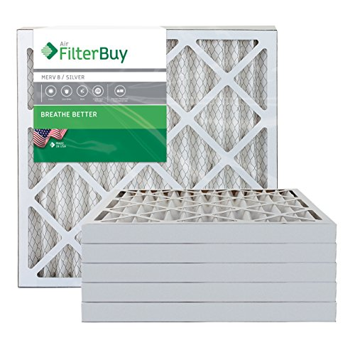 FilterBuy 20x20x2 MERV 8 Pleated AC Furnace Air Filter, (Pack of 6 Filters), 20x20x2 – Silver