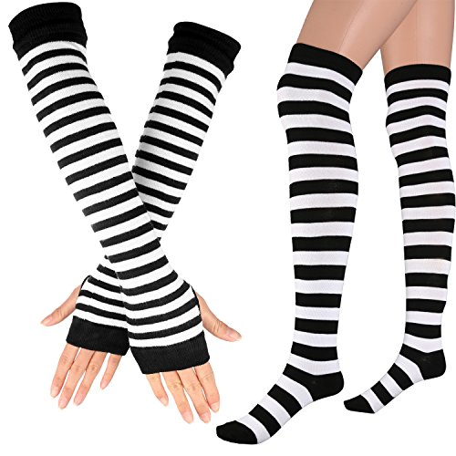 Womens Extra Long Striped Socks(Over Knee High Opaque Stockings ) & Long Arm Warmer Gloves(Punk Gothic Rock) (Black & White, OneSize) (Black Striped Leg Warmers)