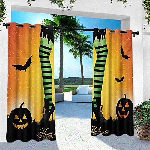 leinuoyi Halloween, Outdoor Patio Curtains, Cartoon Witch Legs with Striped Leggings Western Concept Bats and Pumpkins Print, Outdoor Privacy Porch Curtains W84 x L108 Inch Multicolor