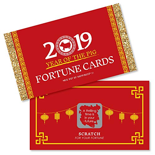 Chinese New Year - 2019 Year of The Pig Party Scratch Off Fortune Cards - 22 Count -