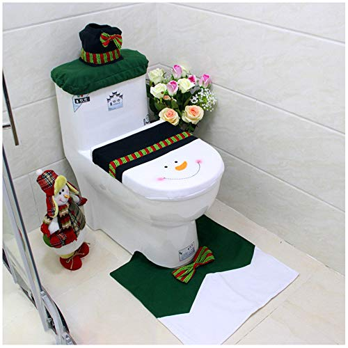 Snowman Santa Toilet Seat Cover Tissue Box Cover Tank Lid Cover and Rug Set Merry Christmas Decorations Fancy Bathroom Plush Felt Cute Festival Decor for Home Hotel Party Supplies Pack of 3 Snowman]()