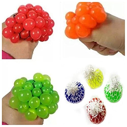 (SODIAL Decompression ball Mesh grape shape squeeze ball Anti Stress Grape Ball Balloon Toy Extrusion Toy for Autism Adult and Child - Color Random)