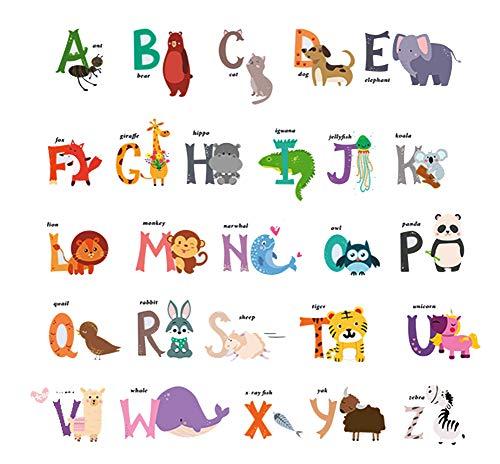 DEKOSH Baby Nursery Animal Alphabet Peel & Stick ABC Kids Wall Decals - Colorful Educational Wall Stickers for Kids Playroom, Classroom Décor