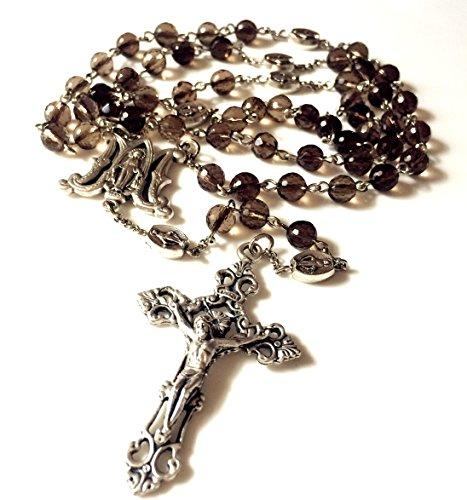 elegantmedical Handmade Smoky Quartz Crystal Beads 5 Decade Catholic Mary Rosary Cross Gifts Necklace Box