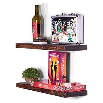 "Image of Home and Kitchen DAKODA LOVE Rugged Distressed Floating Shelves | USA Handmade | Wall Mounted Hidden Single Bar Floating Shelf Bracket | Farmhouse Rustic Pine Wood | Set of 2 (Bourbon, 24""L x 8""D)"