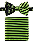 Canacana Cool Funky Skulls Woven Microfiber Pre-tied Boy's Bow Tie with Stripes Pocket Square Gift Box Set - Green and Black - 8 - 10 years, Christmas gift
