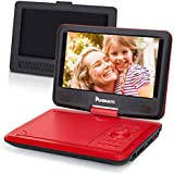 """NAVISKAUTO 9"""" Portable DVD Player with Car Headrest Mount Holder - Swivel Screen / 5H Rechargeable Battery / SD Card & USB Port / AV Out & in / Region Free (Red)"""
