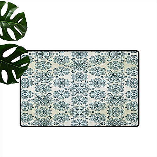 Winter,Custom Door mats Mandala Style Floral Round Figures with Damask Elements Retro Graphic Ornaments 18