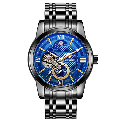 Moon Blue Appliances (Jili Online TEVISE Business Men's Automatic Mechanical Stainless Steel Analog Chronograph Watch - Black, Blue)