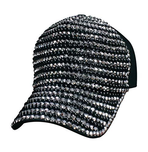 (Tipsy Chics Capsmith Women's Black & Silver Fully Studded Rhinestone Baseball Hat)