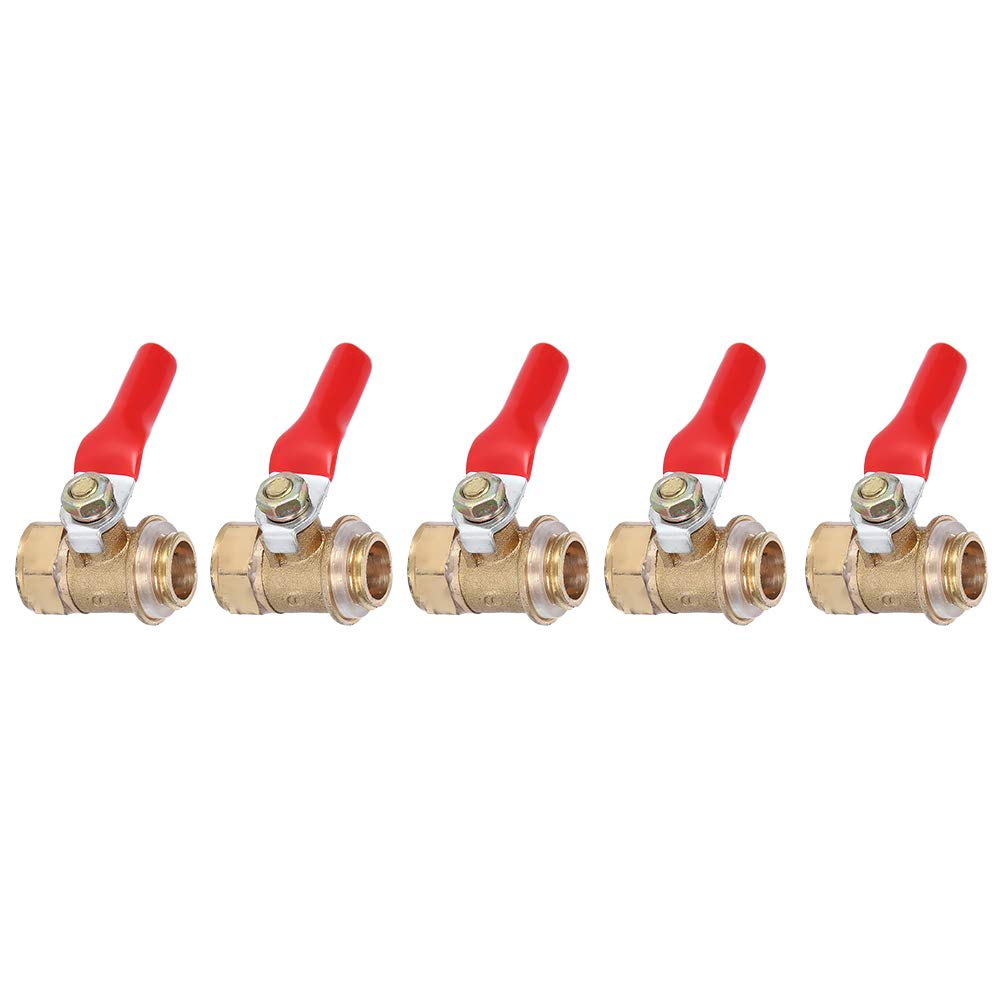 Ergonomic Red Handle 180 Degree Operation Copper Ball Valve Hydronic Heating for Potable Water Distribution 5pcs Ball Valve Connector