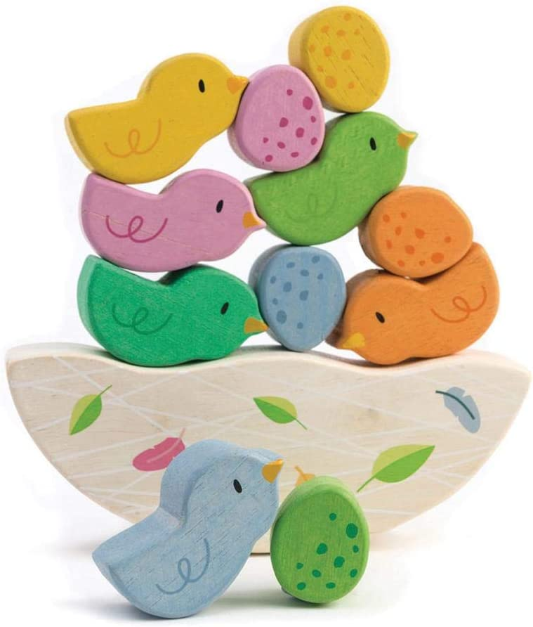 STEM Toy Rocking Baby Birds 12 Piece Balance Toy Wooden Toy Stack /& Balance Educational Game Early Learning to Develop Strategic Thinking and Fine Motor Skills
