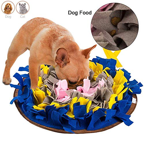 Snuffle Mat for Dogs Small (17″ x 17″) Food Meal Dish Puzzle Feeder Mat to Training& Encourages Natural Foraging Skills Durable & Machine Washable