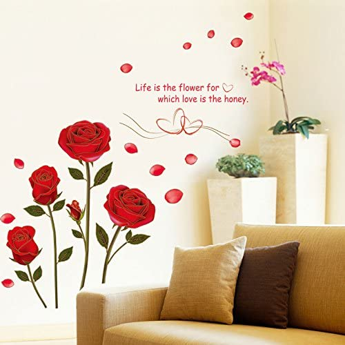 Amazon Com Ewqhd Flying Red Rose Love Quotes Romantic Flower Wall Sticker For Bedroom Wedding Decoration Art Home Decor Decal Mural Home Kitchen