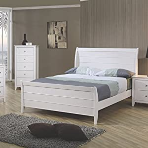 Selena Full Sleigh Bed with Panel Detail White