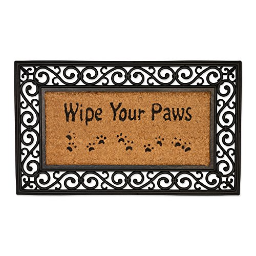Natural Coir Tuffridge Rubber Non-Slip Half Round Doormat, 18x30, Heavy Duty Entry Way Shoes Scraper Patio Rug Dirt Debris Mud Trapper Waterproof-Wipe Your Paws