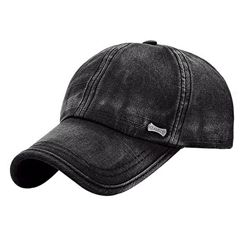 Glamorstar Trendy Baseball Caps Adjustable Distressed Washed Cotton Ball Hat Black