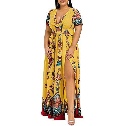 KCatsy Plus Size Dress High Waist Maxi Slit -