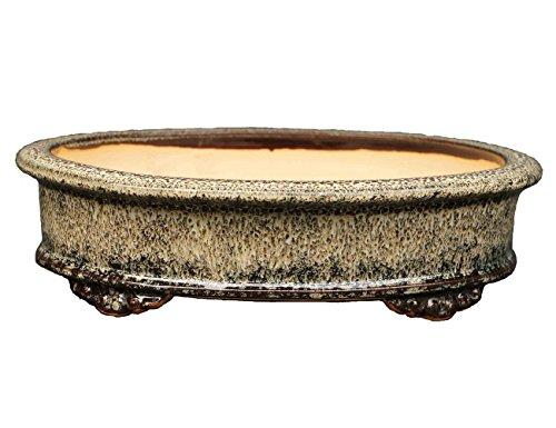 (YUKIMONO Namako Glazed Oval Bonsai Pot, 7.5-Inch)