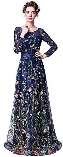 Honeydress Women's Floral-Embroidered Long Sleeve Maxi Dress Prom Gown ()