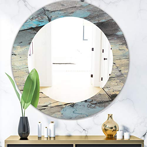 Designart 'Rock Teal Panel II' Modern Wall Mirror Framed Mirrors, Large Oval -