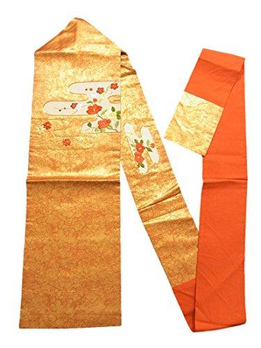 オセアニア注釈余裕があるリサイクル 名古屋帯 刺繍 ヱ霞に椿や枝梅文 正絹