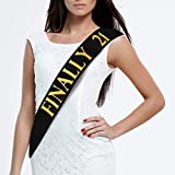 JPACO 21st Birthday Sash – Finally 21 Black Satin with Gold Glitter Stamped Letters, Legal Drinking Age Party Favors, Novelty Gift, Supply and Decorations for Men & Women