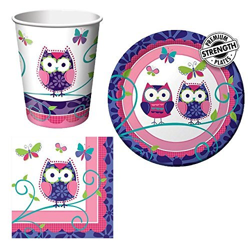 Creative Converting Owl Pal Tableware Package Including Cups, Beverage  Napkins, And Dessert Plates For 16 Guests