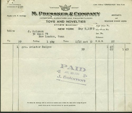 M Pressner & Co Toys & Novelties NYC invoice 1929 1 gross Aviator - Nyc Aviator