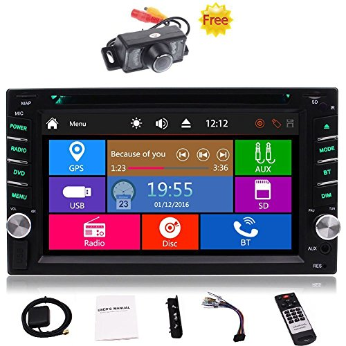 "Free Car Rear View Camera + Double Din 6.2"" Touch Screen In Dash Stereo Car Receiver DVD CD 1080P Video Player Bluetooth GPS Navigation FM/AM RDS Radio TF/USB/AUX-in/Subwoofer/SWC +Remote Control"