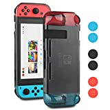 Kungber TPU Anti-Scratch Back Case Cover for Nintendo Switch Ergonomic Accessories Skin With Joy-Con & Thumb Grips